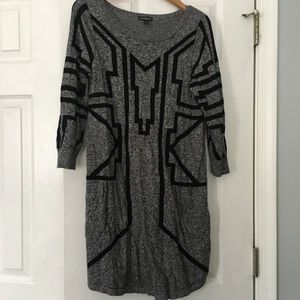 Black and Gray Sweater Dress